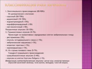 Рак яичников классификация