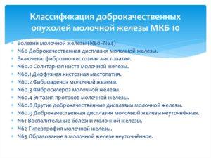 Заболевание молочной железы код по мкб 10